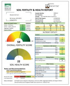 sample Woods End soil fertility and health report